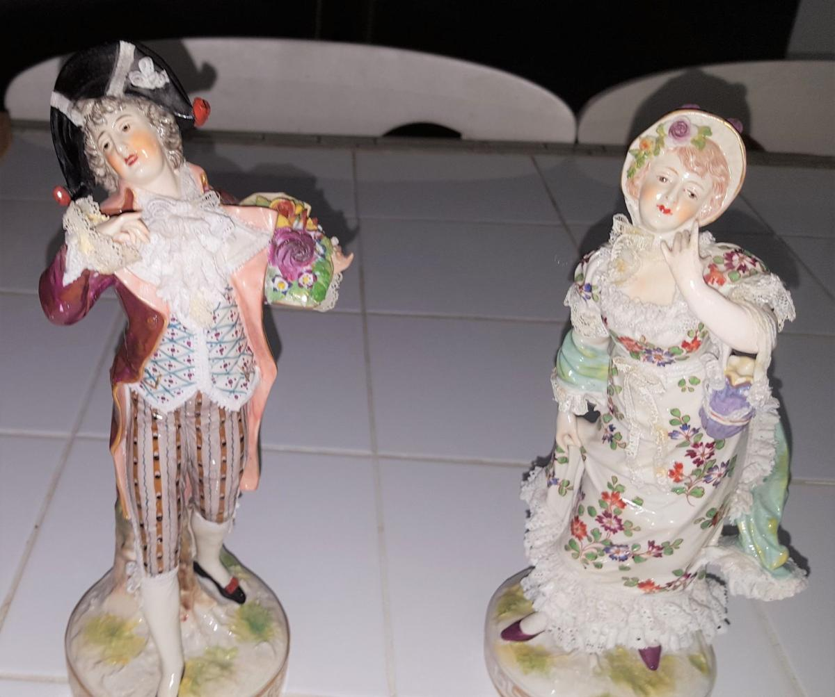 Porcelain figurines were likely made in Limoges, France  Real