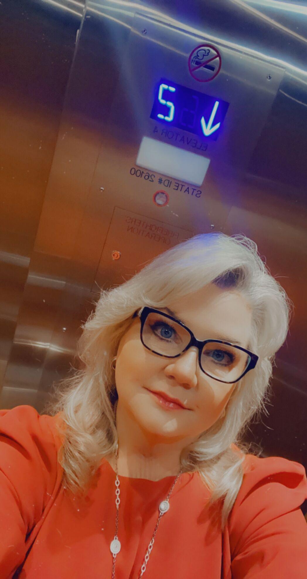 ruthie schlabach in elevator