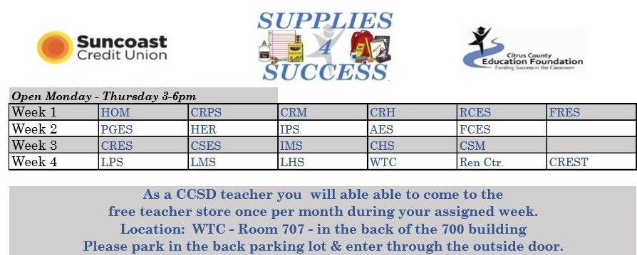 Supplies 4 Success Teacher Schedule