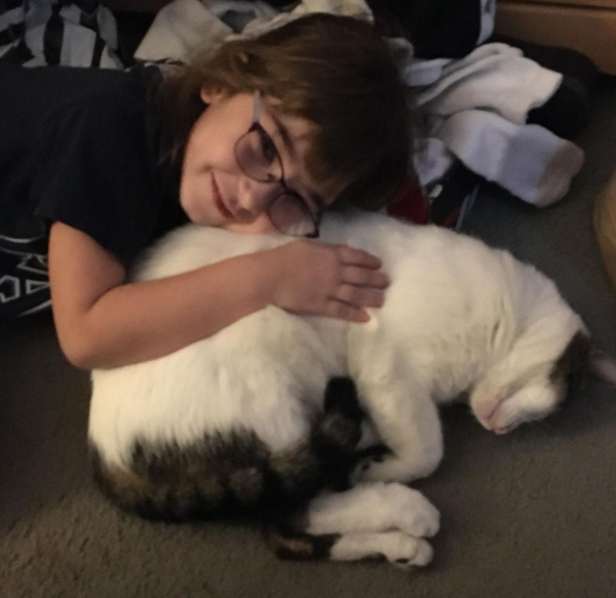 Tucker the lost cat with Julieanne