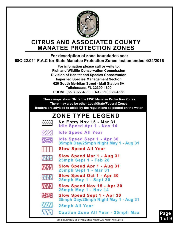 Citrus County Manatee Speed Zone Maps