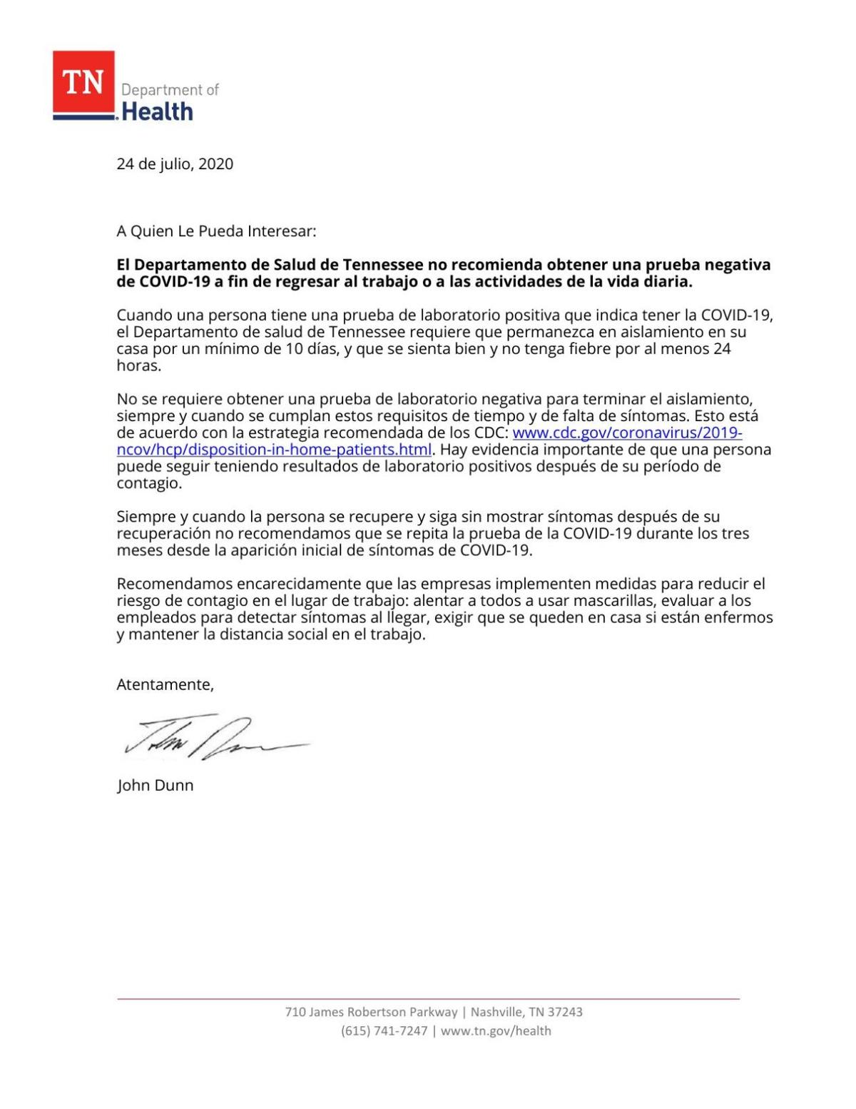 (Spanish) Tennessee Department of Health letter to employer