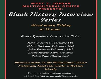 ETSU Multicultural  Center presents Black  History Month series