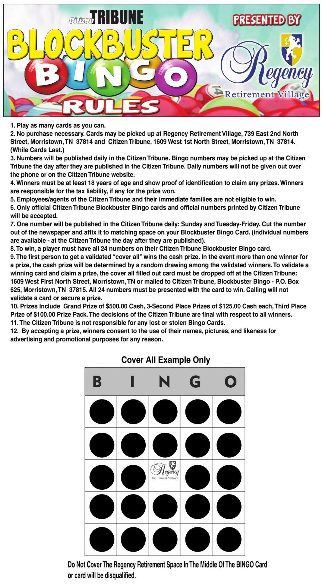 BLOCKBUSTER BINGO RULES