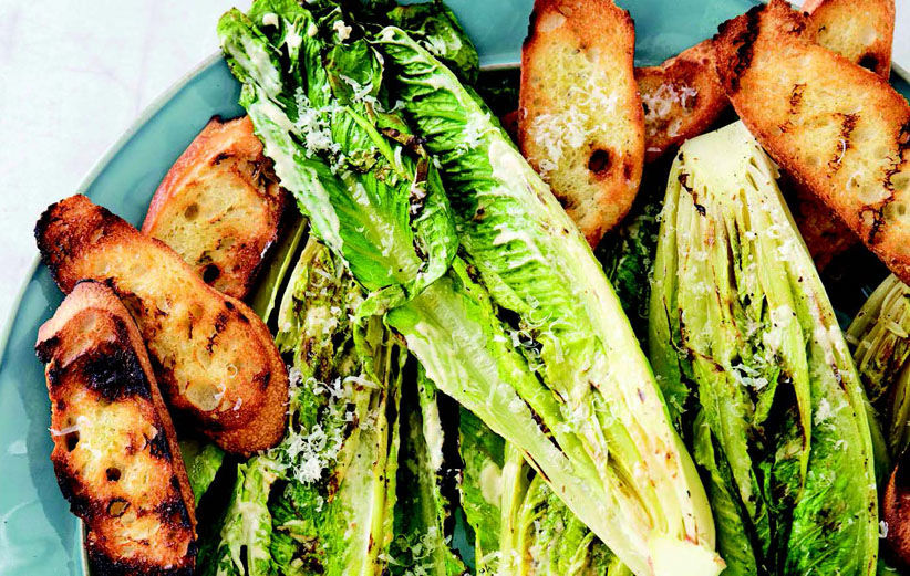 Take your Caesar salad to the grill to get a smoky char