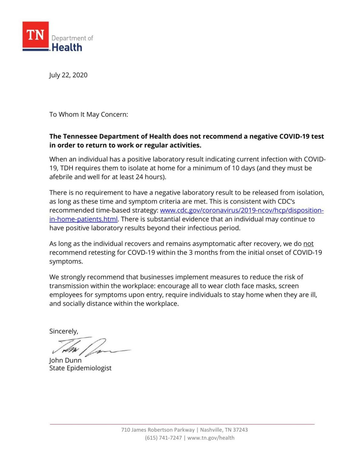 Tennessee Department of Health letter to employers