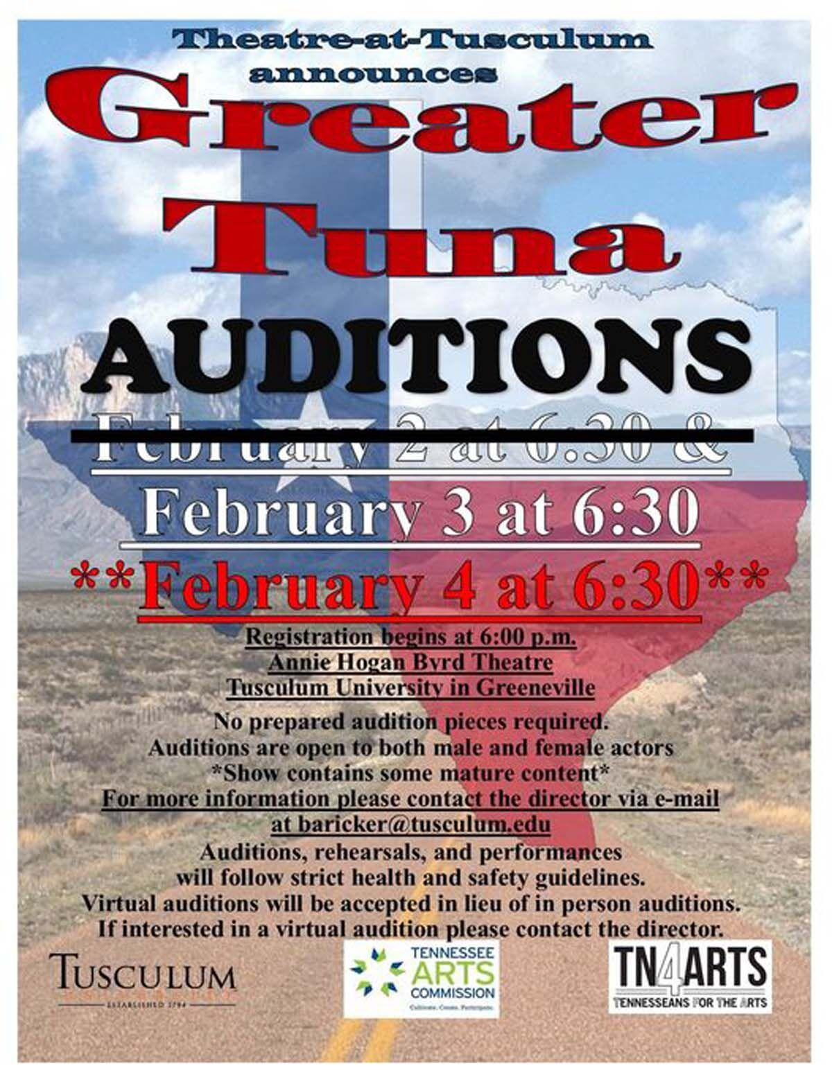 Theatre at Tusculum holding 'Greater Tuna' auditions