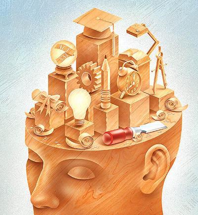 Ed Yozwickhead mind sculpture chisel wood