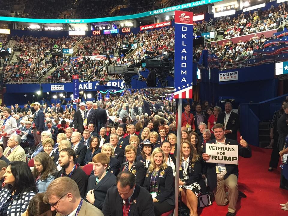 The Oklahoma delegates on the floor of the Republican National Convention