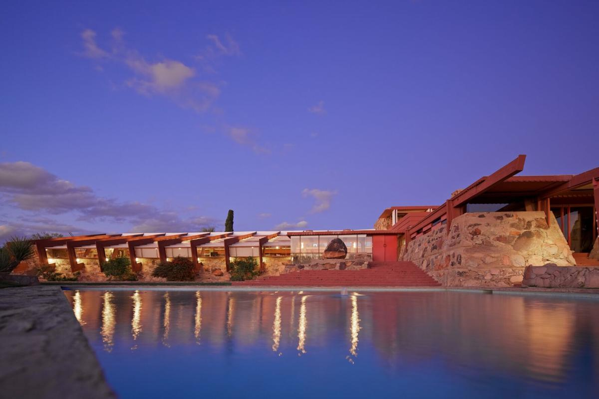 Taliesin West_Front evening_Photo credit Andrew Pielage_copyright Frank Lloyd Wright Foundation.jpg