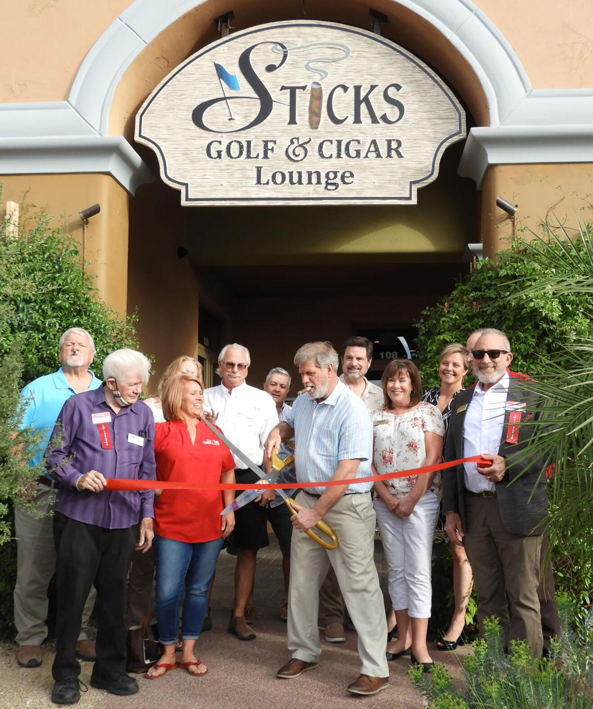 Stick's Golf and Cigar Lounge ribbon-cutting