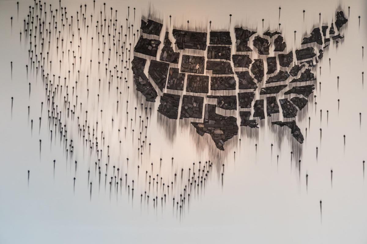 Teresita Fernández, Fire (United States of the Americas) 2, 2018. Charcoal; 137 x 442 x 1 in. (overall). Installation view, Fire (United States of the Americas) 2, McNay Art Museum, San Antonio, TX, 2018. Courtesy the artist; Lehmann Maupin, New York, Hong Kong and Seoul; and McNay Art Museum.