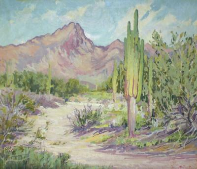 """""""Camelback Mountain with Saguaro and Wash"""" 1920, oil on board by Jessie Benton Evans"""