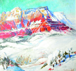 Marjorie Reed, 1915-1996, The White Winter of '49 at Sedona, or Sedona's Deepest Snow, oil on canvas;.png