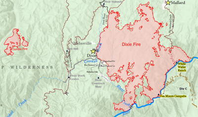 Dixie Fire area on July 19 image