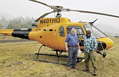 Mike Ryan and helicopter