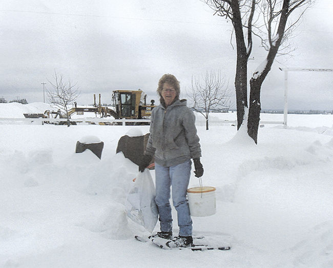 Fraser News - Norma on snowshoes