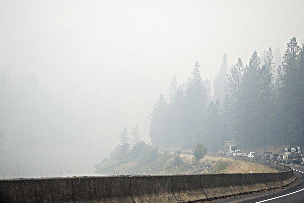 Smoke on river fire