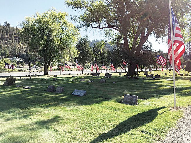 Flags flying at the cemetery