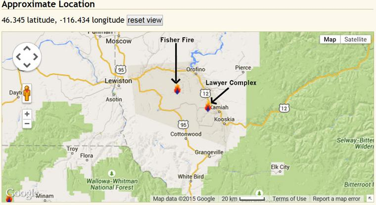 Kamiah Fire Map.Map Of Fisher Fire And Lawyer Complex Clearwater Tribune Home