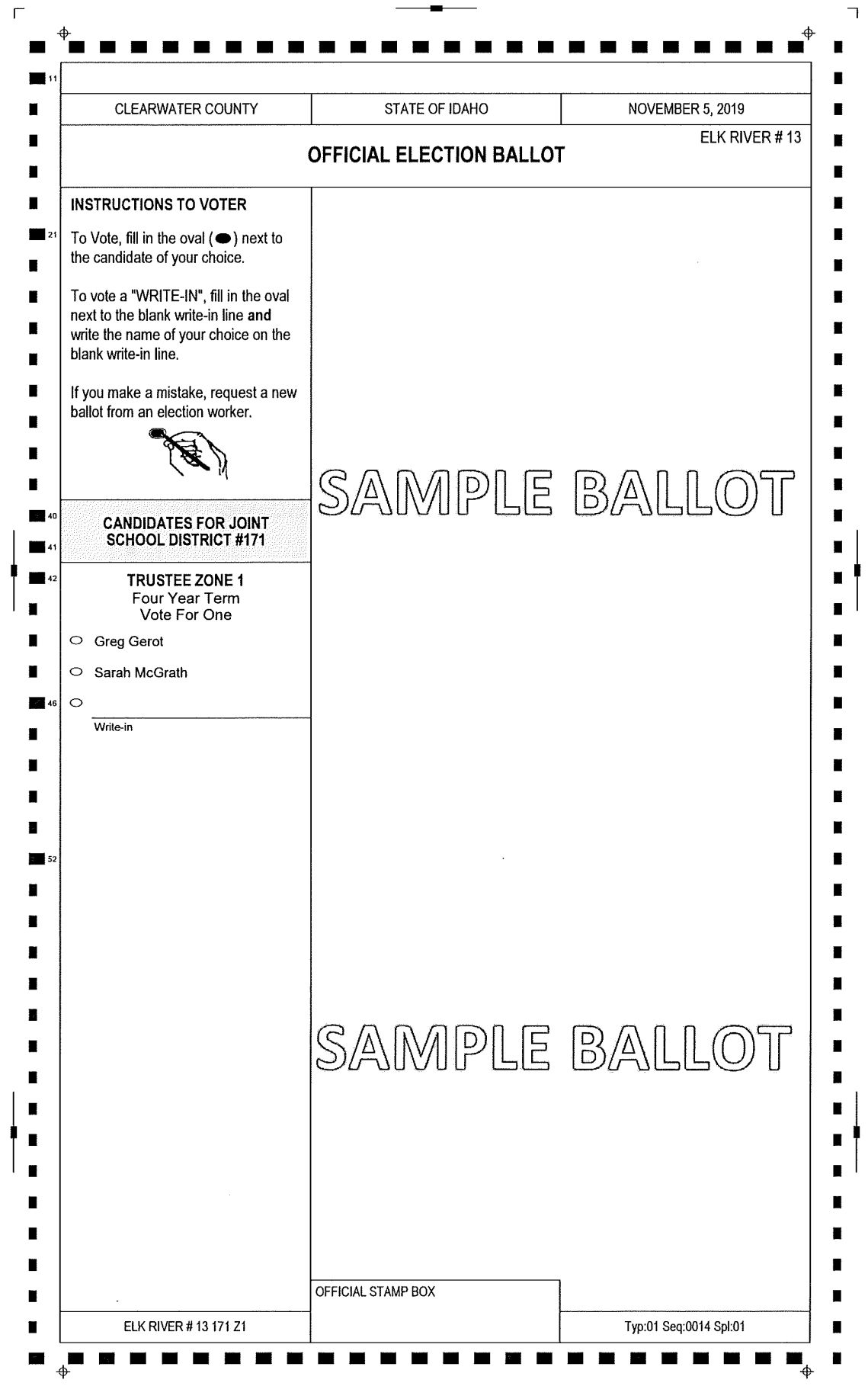 Sample Ballot Clearwater County Nov 2019-2