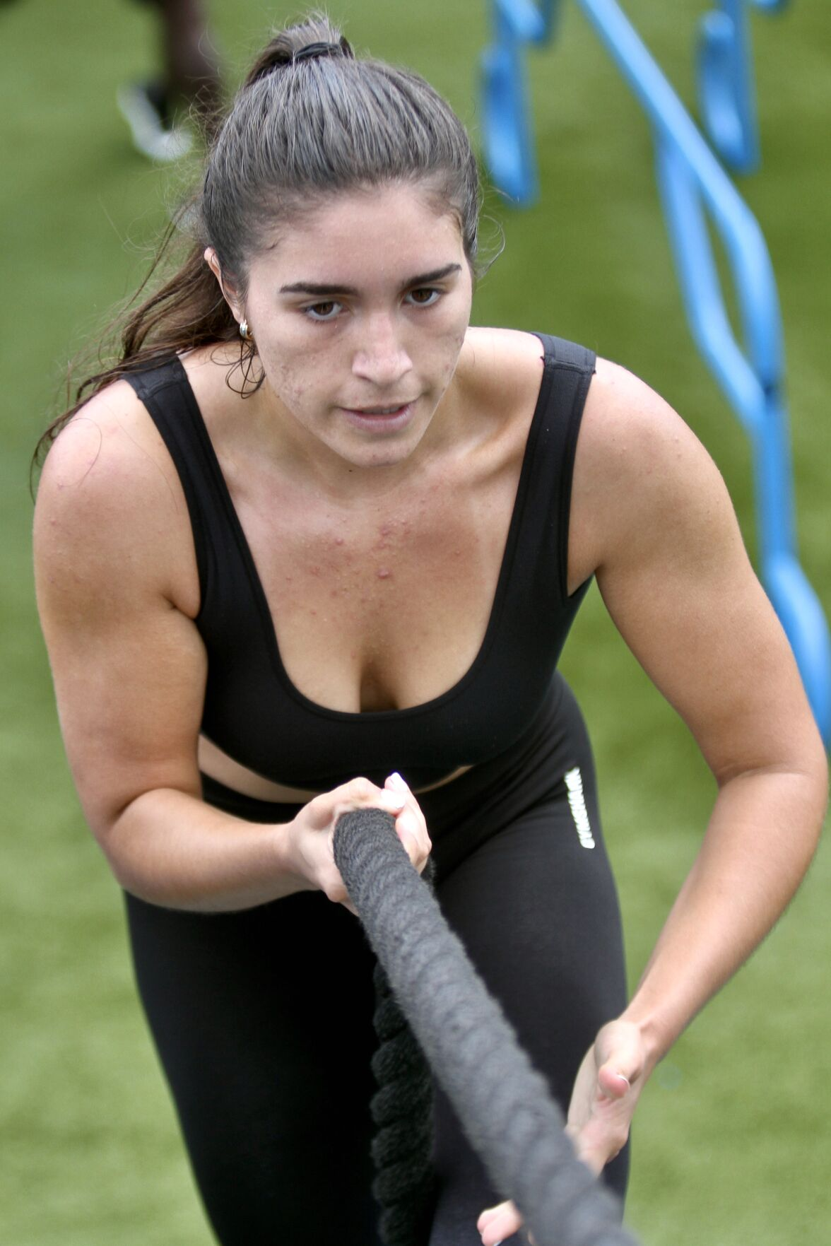 Paradise Coast Sports 1. A fitness competitor climbs the functional staircase ramp during the free Bootcamp at The Factory at the Paradise Cove Tailgate Party Saturday..jpeg