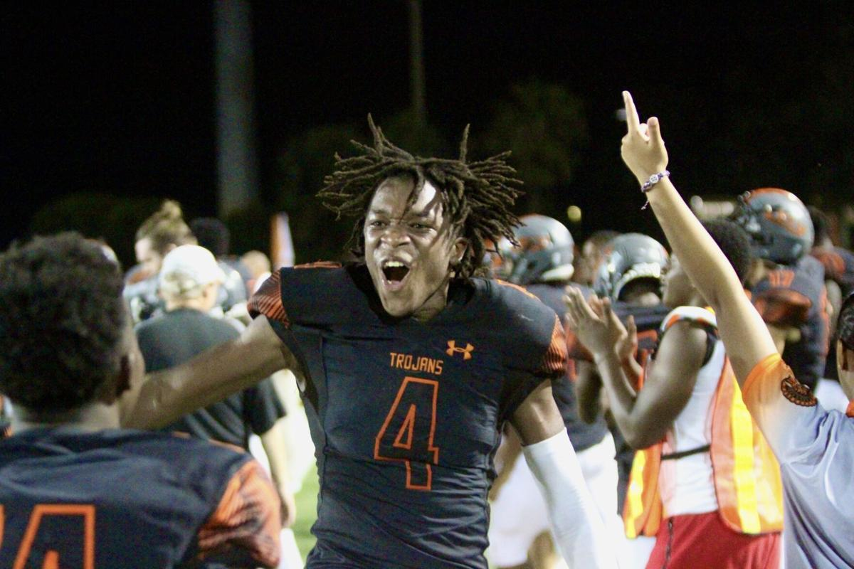 Big Play Defense 4. Stanley Philogene is thrilled as the final seconds tick off the clock in Lely's big win over Palmetto Ridge. .jpeg