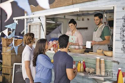 Isles of Capri Food Truck  Smiling,Waiter,Taking,Order,From,Customer,At,Counter