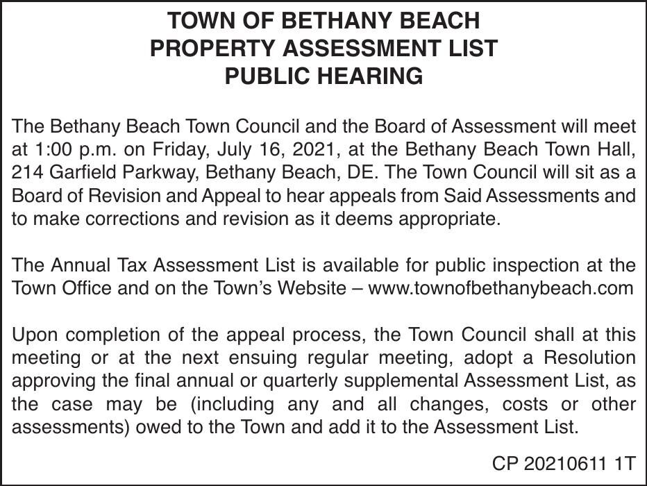 Town of Bethany Beach - June 16, '21 Assessment Notice