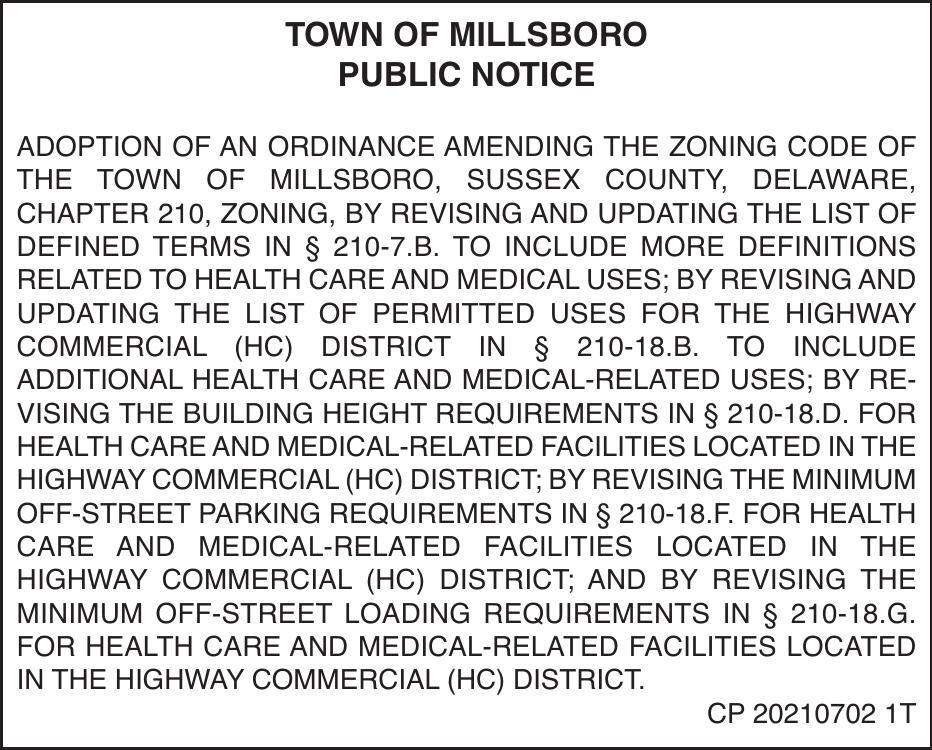 Adoption of Amending Zoning Code - Town of Millsboro