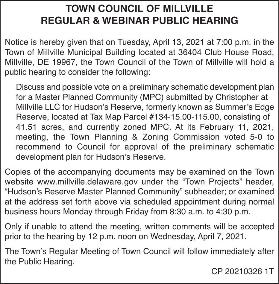 Town of Millville - Apr 13, '21 Meeting Notice