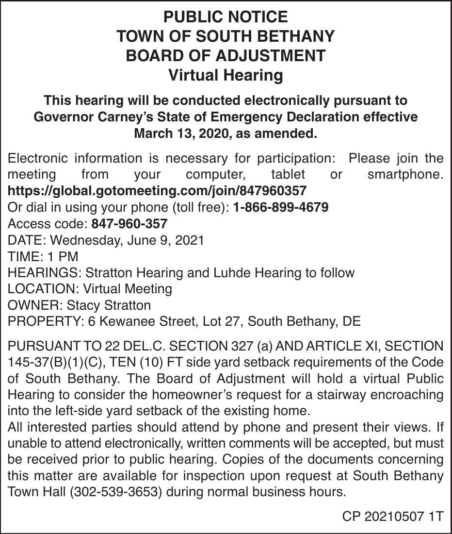 Town of South Bethany - June 9, '21 Board of Adj. Meeting Notice