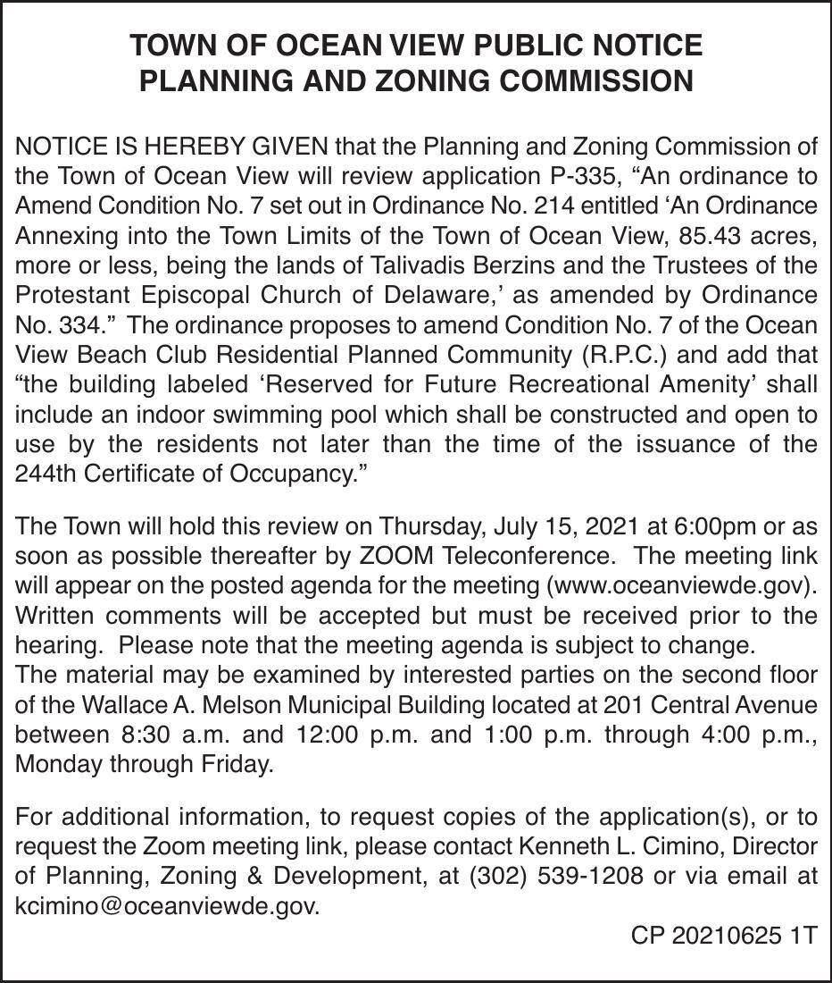 Town of Ocean View - July 15, '21 Meeting Notice