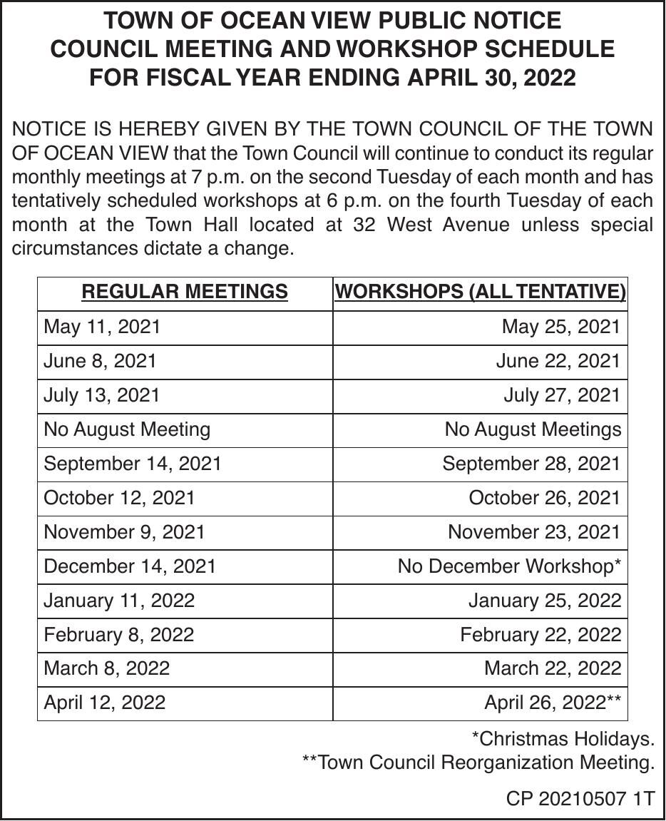 Town of Ocean View - '21-'22 Calendar