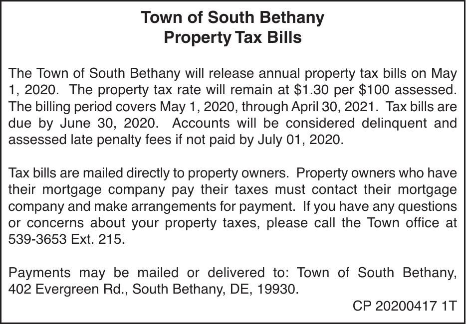 Town of South Bethany - '20 Property Tax Bills
