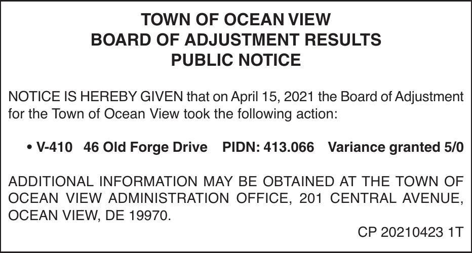 Town of Ocean View - Apr. 15, '21 Board of Adj. Meeting Results