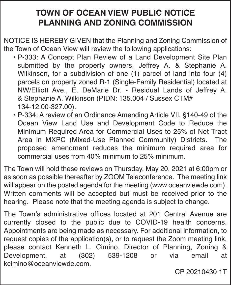 Town of Ocean View - May 20 P&Z Meeting Notice