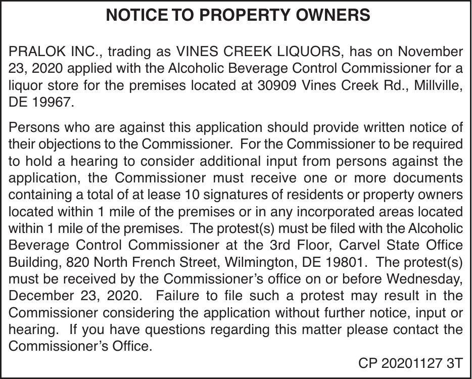 ABC License - Vines Creek Liquors