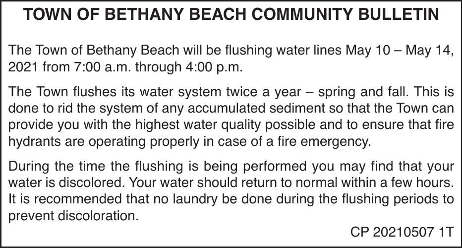 Town of Bethany Beach - May 10-14, '21 Water Flushing