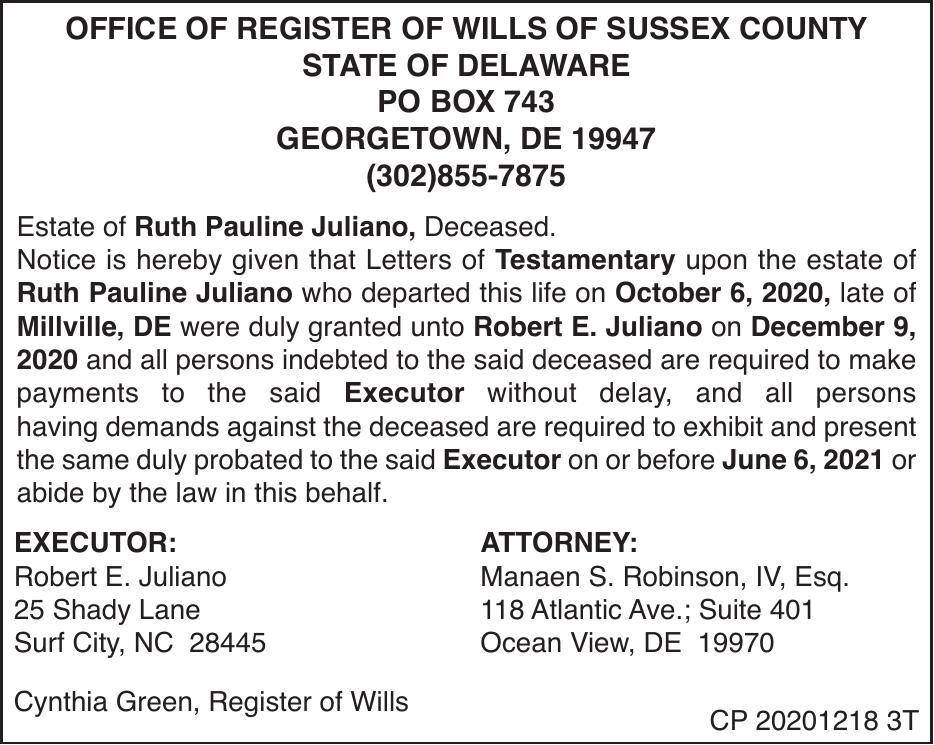 Register of Wills - Juliano