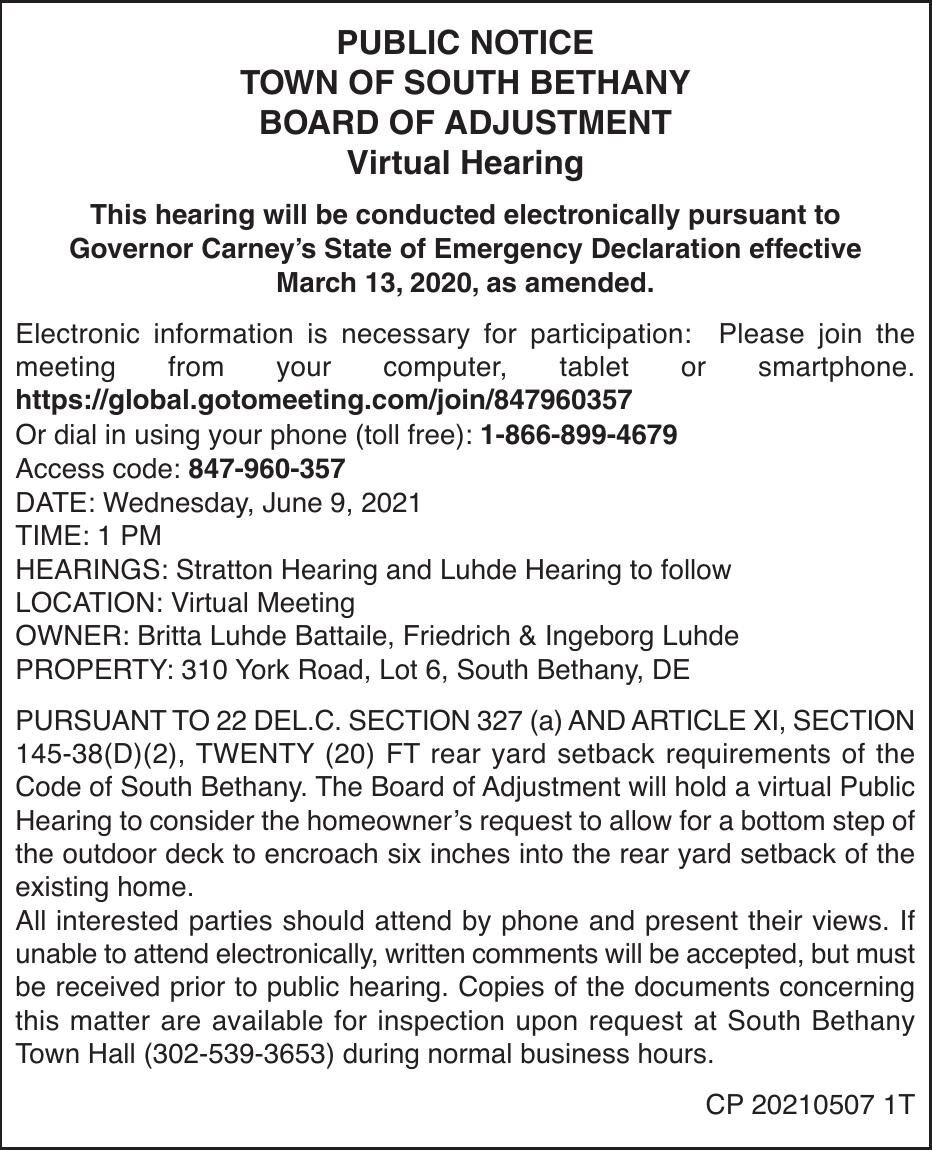 Town of South Bethany - June 9, '21 Board of Adj Meeting Notice
