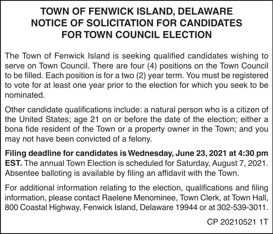 Town of Fenwick Island - Solicitation of Candidates