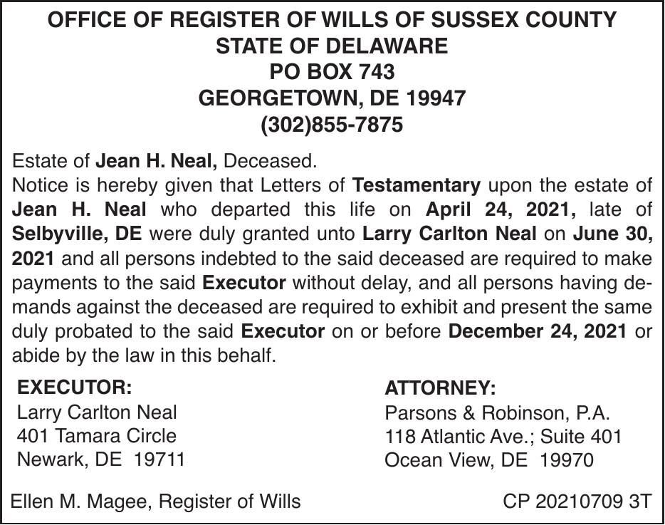 Register of Wills - Neal