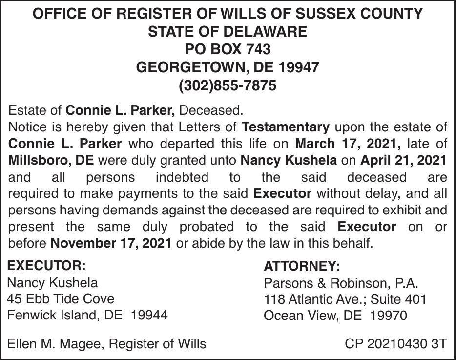 Register of Wills - Parker