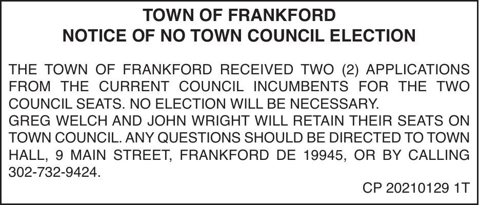 Town of Frankford - '21 Election Canceled