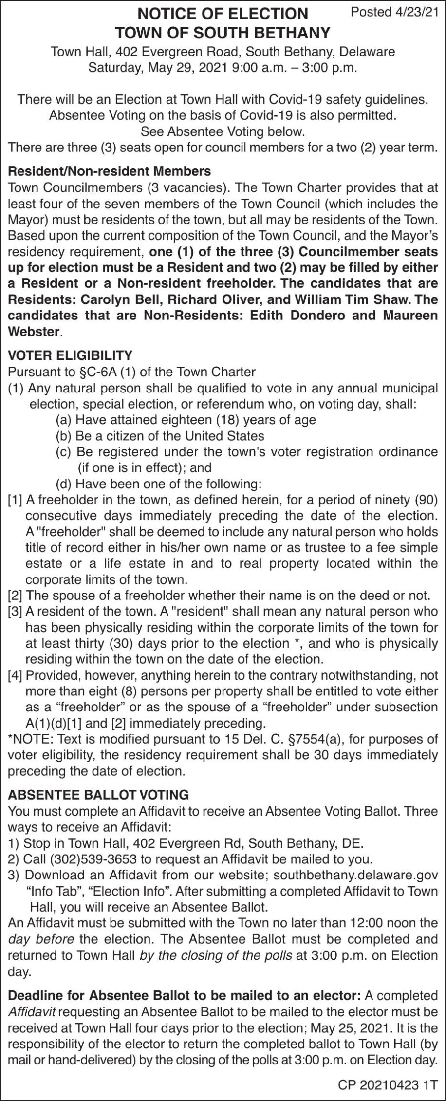 Town of South Bethany - May 29, '21 Election Notice