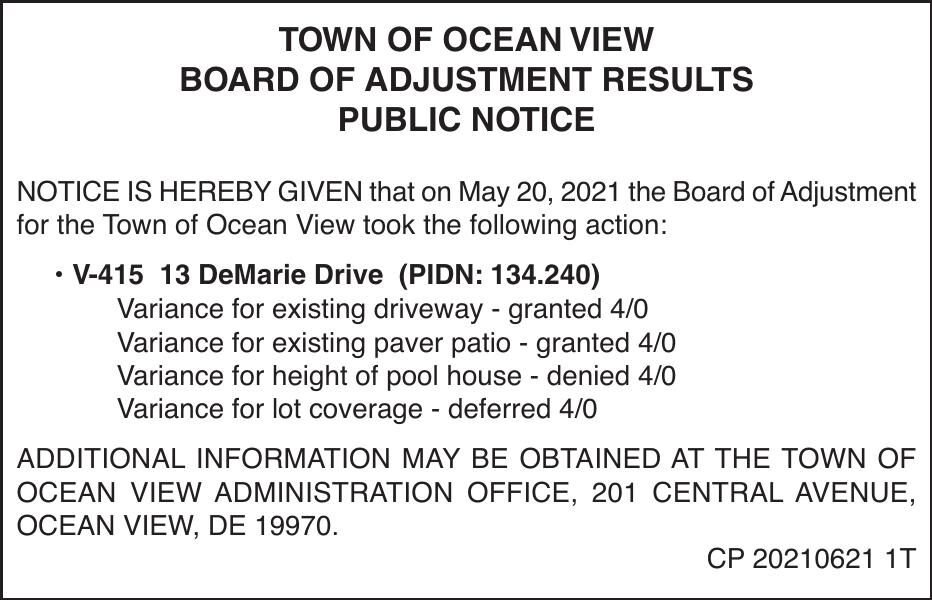 Town of Ocean View - May 20, '21 Results