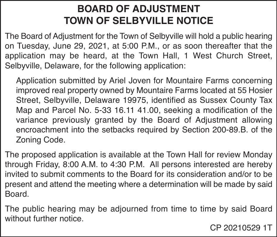 Town of Selbyville - June 29, '21 Meeting Notice