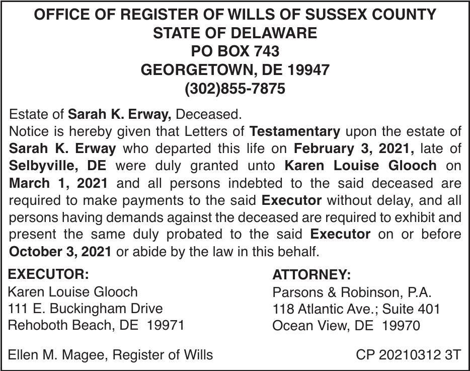 Register of Wills - Erway