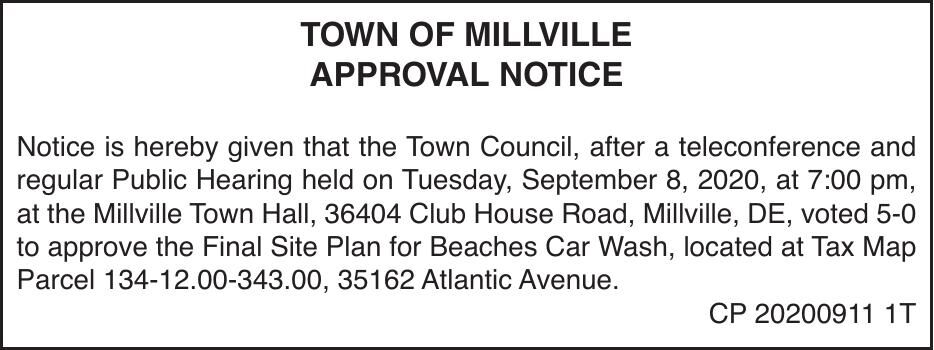 Town of Millville - Sept. 8, '20 Meeting Results